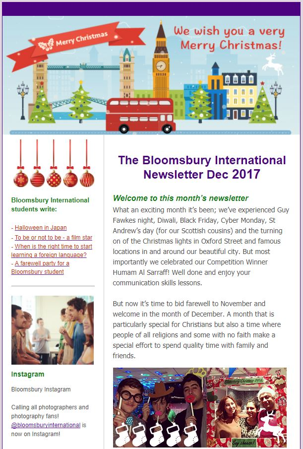 Bloomsbury International Newsletter, written by our internatioanl students