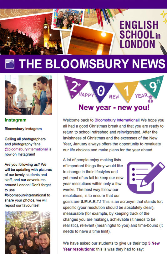 Bloomsbury International Newsletter, written by our international students